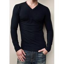 Camiseta Slim Em Gola V Manga Longa 100% Algodão