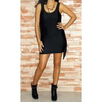 Vestido Noche Corto Informal Negro Lycra Con Flecos