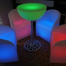 Cubo Led Puf Con Respaldo Salas Lounge Iluminadas Mesas Bar