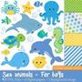 Kit Imprimible Animalitos Fondo Del Mar 5 Imagenes Clipart