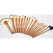 Pincel Maquiagem Profissional Kit C/ 18 - Pelo Natural