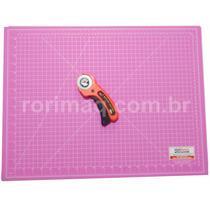 Kit Base D Corte Rosa + Cortador Patchwork Scrapbook
