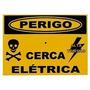 Placa Sinalização Alumínio Perigo Cerca Elétrica
