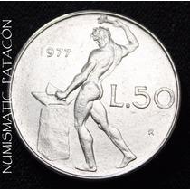 Moneda 50 Liras Italia 1977 - Buena