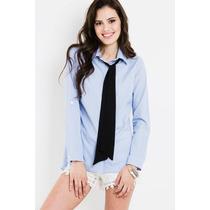 Camisa Blusa Rayada Con Moño Desmontable Ultima Moda
