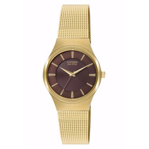 Reloj Citizen Eco-drive Dama Azteca Gold Em0162-58x Watchito