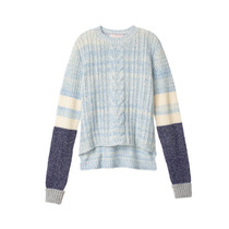 Sweater Celeste Trenzas Combinado Azul S Victoria