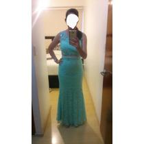 Vestido De Noche Verde Menta Encaje Usado