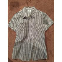 Camisa Lacoste Talla 40, M Gris Y Blanco