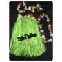 Kit Havaiano Saia Verde 60cm+2 Pulseira+colar+coroa Fantasia