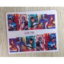 Exclusivos Stickers De Uñas Completas Unicos Capitan America
