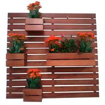 Floreira Jardim Vertical Com 4 Cachepô Em Madeira Maciça