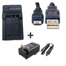 Kit Carregador + Cabo Usb Para Sony Cyber-shot Dsc-hx50 Novo