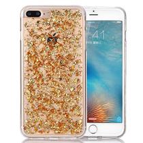 Estuche Iphone 7 Plus Hoja Oro Lujo Bling Brillo Placa Front