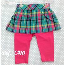 Calça Legging - Saia Xadrez Bebê Menina Em Algodão