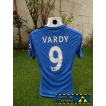 Jersey Leicester City Local Vardy 9 Campeón Inglaterra Foxes