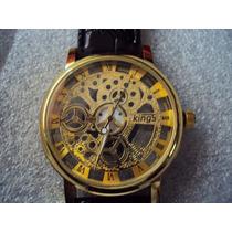 Reloj Kings Tipo Skelleton Maquina De Cuarzo Ext En Piel