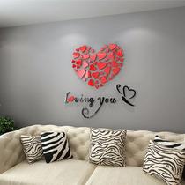 Sticker De Corazón Pared Tipo Cristal Acrílico 3d Decoración