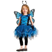 Disfraz Para Niña Traje De Niño Buttlerfly Azul De La Baila