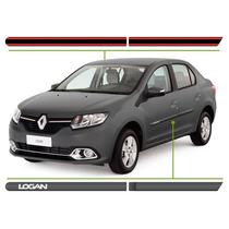 Jogo Friso Lateral Renault Logan Cinza Acier Personalizado