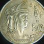 Moneda 50 Centavos 1950tas Cuauhtemoc Aguila Que Cae Plata