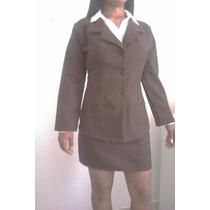 Elegante Uniforme Ejecutivo Marron Chaqueta Con Falda