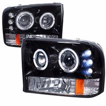 Farol Angel Eyes Led F250 98 A 06 Máscara Negra + Kit Xênon