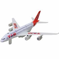 Avião Brinquedo Decoração Com Led E Fricção Tam L003ki