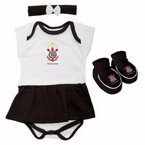 Kit Body Vestido Lacinho E Pantufa Corinthians Torcida Baby