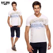 Camiseta Masculina Rat Boy Gola V - Branca