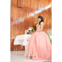 Vestido De Xv Coral Con Tela Tul