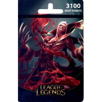 Cartão League Of Legends Lol - 3100 Riot Points Brasil Br