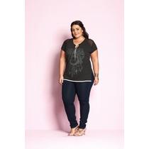 Blusa Feminina Plus Size Estampa Boho Com Renda - Ref 1540