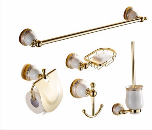 Set juego de accesorios para ba o oro pulido dorado 5 for Juego accesorios bano