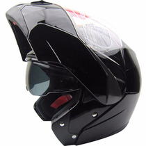 Casco Beon B700 Shiny Black Rebatible Doble Visor Fas Motos
