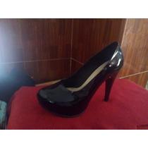 Zapato Negro Taco 9, Talla Uníca Nº 38 A 39