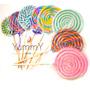 Paletas Caramelo Espiral Colores Centros Mesas Fiestas Dulce