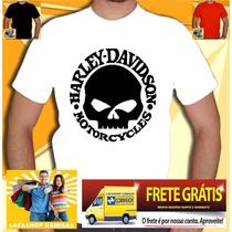 Camisa Harley Davidson Camiseta Motos Banda Rock Caveira