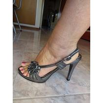 Zapatos De Fiesta Plateados Sandalias Plateadas / Usadas