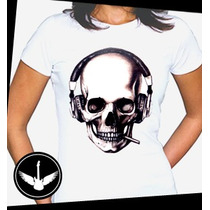 Camiseta Caveira Com Fones Rock Ou Baby Look