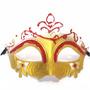 Máscara Glitter Vermelho E Dourado Gala Luxo Baile Carnaval