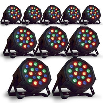 Kit 10 Canhão De Led Par 64 Rgb Led 1w, Dmx, Strobo, Digital