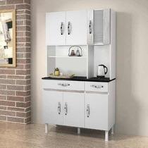 Armário Cozinha 6 Portas 2 Gavetas Branco/gris - Chf Móveis