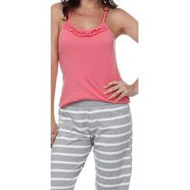Pijama Feminino Blusa Alcinha + Calça Listrada! Novo