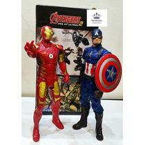 2 Bonecos Vingadores Marvel Homem Ferro + Capitão America