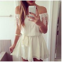 Mei Fashion / Vestido Corto/ Verano Blanco/ Moda Coreana