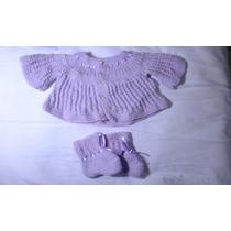 Conjunto Casaco Sapato Bebê Novo Artesanal Feito A Mão Lindo