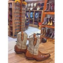 Bota Country Masculina Texana Bico Fino Couro De Jacaré Top