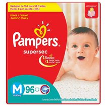 Fralda Pampers Supersec Jumbo M 96 Unidades