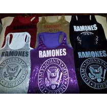 Musculosa Lentejuelas Brillosas Ramones, Metallica, Ac Dc